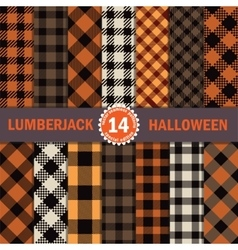 Fourteen Halloween Lumberjack Seamless Pattern vector