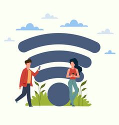 free internet zone man and woman using vector image