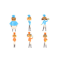 funny cartoon male chefs characters set vector image
