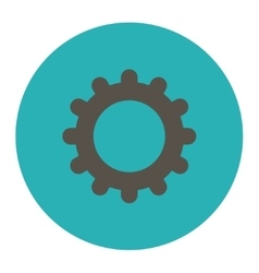 Gear flat grey and cyan colors round button vector