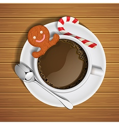 Gingerbread in cup of hot chocolate and sugar cane vector
