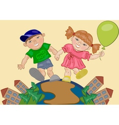 Girl and Boy Holding Hands vector