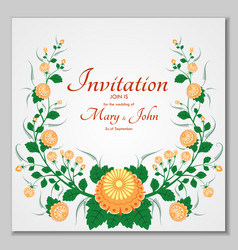 greeting card with stylized orange roses can be vector image vector image