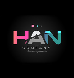 Han h a n three letter logo icon design vector