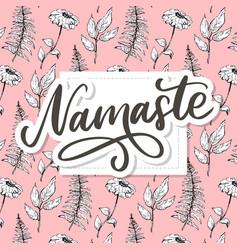 Hand drawn namaste card hello in hindi ink hand vector