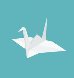 hanging origami paper cranes in flat design vector image