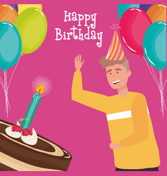 happy birthday man with cake and candle balloons vector image