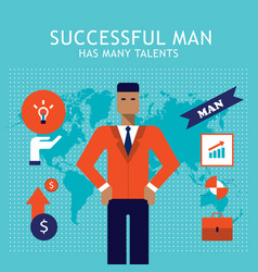 happy successful businessman with business icons vector image