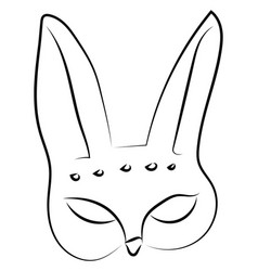 hare mask drawing on white background vector image