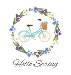 hello spring floral wreath with flowers and ladies vector image