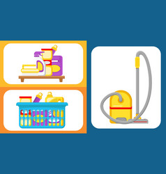 house cleaning supplies set vector image