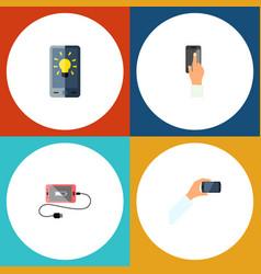 icon flat phone set of brightness keep phone vector image