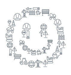 industrial building linear icons set vector image