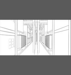 Industrial equipment wire-frame 3d render vector