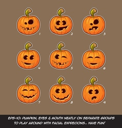 Jack O Lantern Cartoon 9 Funny n Goof Expressions vector image