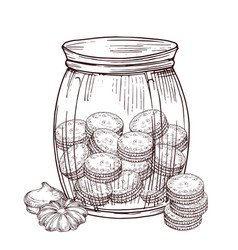 jar with cookies and meringue isolated on vector image