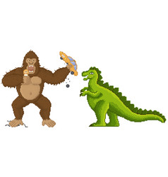King kong and godzilla in pixel-game layout design vector