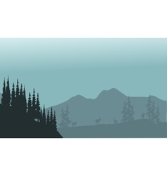 Landscape hills with spruce and antelope vector