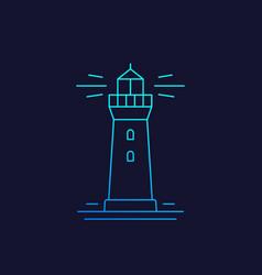 Lighthouse linear icon on dark vector