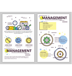 line art management poster banner template vector image