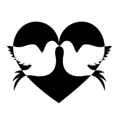 Lovebirds silhouette in heart cartoon icon image vector
