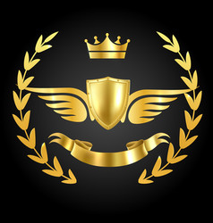 Luxury award with wings luxurious symbol of vector