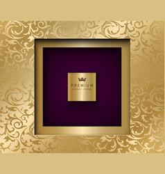 Luxury vintage square frame golden vector