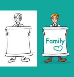 Man and sheet paper with inscription family vector