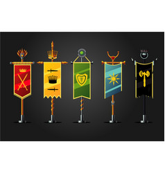 Medieval cartoon flag set insignia game design vector