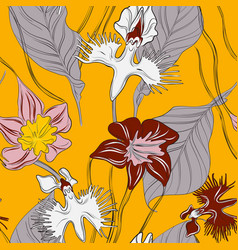 orchids with leaves floral wallpaper seamless vector image