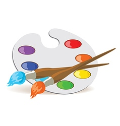 Palette and paintbrushes vector