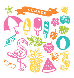 paper cut silhouette summer party set vector image