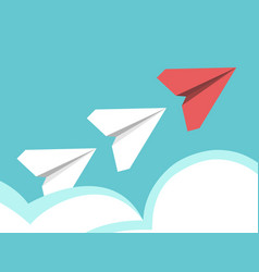 paper planes above clouds vector image