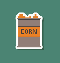 Paper sticker on stylish background corn in glass vector