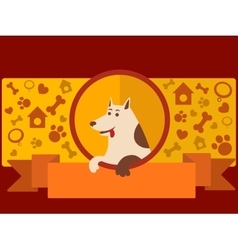 Pet shop banner with dog cartoon vector image