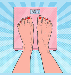 pop art female feet on weighing scales vector image