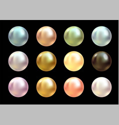 realistic varicoloured pearls set on black vector image