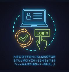 Registration neon light concept icon vector