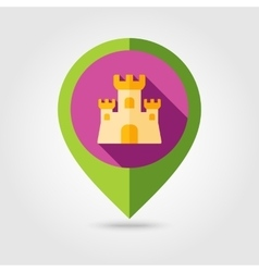 Sand Castle flat mapping pin icon with long shadow vector