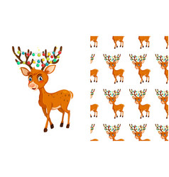 seamless and isolated animal pattern cartoon vector image