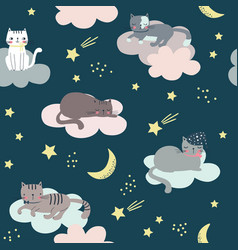 seamless childish pattern with cats clouds moon vector image