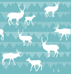 seamless christmas pattern with deer silhouettes vector image
