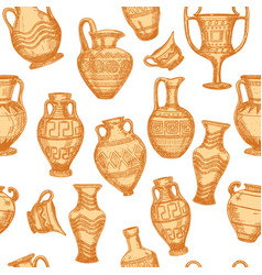 seamless pattern with antique vases sketch set of vector image