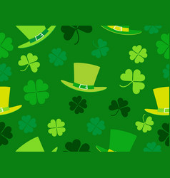 seamless pattern with hat and clover leaves st vector image