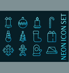 Set christmas blue glowing neon icons vector