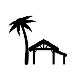 silhouette empty wood shed where born jesus vector image