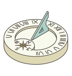 Solar clock icon isometric style vector