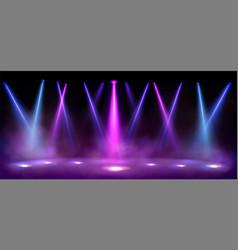 Stage lights spotlight beams with smoke on floor vector