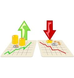 stock market with arrows vector image vector image