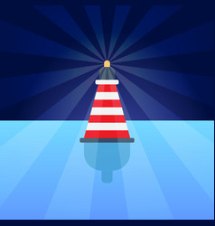 Striped red plastic buoy with lighter in blue vector